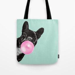 Bubble Gum Sneaky French Bulldog in Green Tote Bag