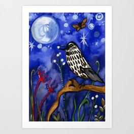 Silver Moon Berries Art Print