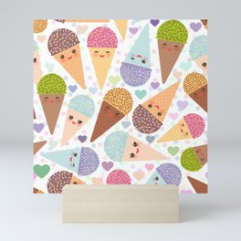 Kawaii funny Ice cream waffle cone, with pink cheeks and winking eyes Mini Art Print