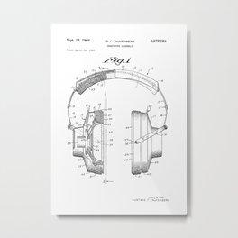 Headphones Patent Metal Print