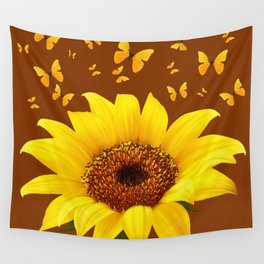 COFFEE BROWN YELLOW SUNFLOWER & BUTTERFLIES Wall Tapestry