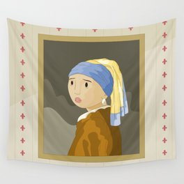 Girl with pearl by Vermeer  Wall Tapestry