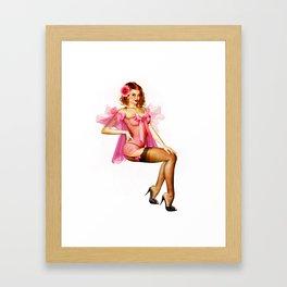 Pink Chiffon Pinup Framed Art Print