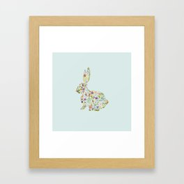 Spring Flowers Bunny on Blue Framed Art Print
