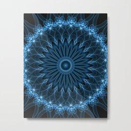 Detailed mandala in blue tones Metal Print