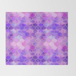 Ultra Violet & Gold Mermaid Scale Pattern Throw Blanket
