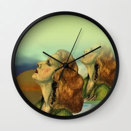 wíndow curtain lily - to the left side Wall Clock
