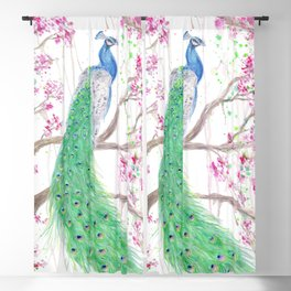 """Watercolor Painting of Picture """"Peacock"""" Blackout Curtain"""