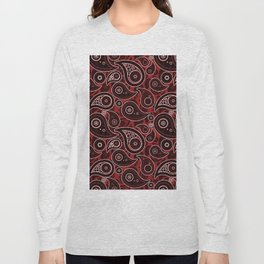 Sangria Red Paisley Pattern Long Sleeve T-shirt