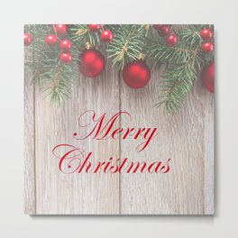 Merry Christmas Garland, Berries & Ornaments on Weathered Wood Metal Print