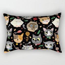 Neighborhood Cats in Black Rectangular Pillow