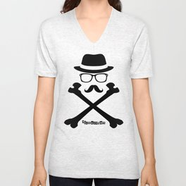 I Am Dayton - Hipster Jolly Roger - Black Unisex V-Neck