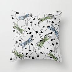 Dragonflies in the garden Throw Pillow