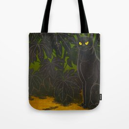 Black Cat yellow eyes Inagaki Tomoo Vintage Japanese Woodblock print, mid century, Moder Cubism Tote Bag