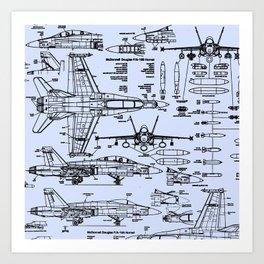 F-18 Blueprints // Light Blue Art Print