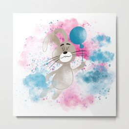 Cute  little rabbit in the sky with baloons Metal Print
