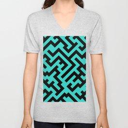 Black and Turquoise Diagonal Labyrinth Unisex V-Neck
