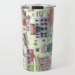"""Downtown St. Marys, GA"" Watercolor Map Travel Mug"
