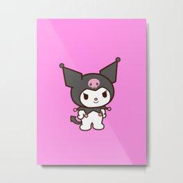 Pink and Black Kuromi クロミ Metal Print