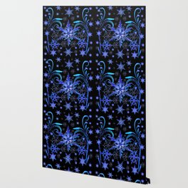 DECORATIVE BLACK & BLUE WINTER SNOWFLAKE FANTASY ART Wallpaper