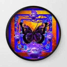 SURREAL DESIGN BLACK BUTTERFLIES PURPLE IRIS Wall Clock