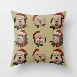 SantaSHeepies in Tan Throw Pillow