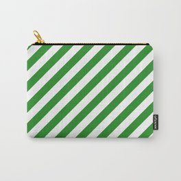 Diagonal Stripes (Forest Green/White) Carry-All Pouch