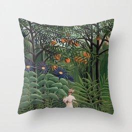 Woman Walking in an Exotic Forest (Femme se promenant dans une forêt exotique) (1905) by Henri Rouss Throw Pillow
