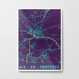 Aix - En Provence Neon City Map, Aix - En Provence Minimalist City Map Art Print Metal Print