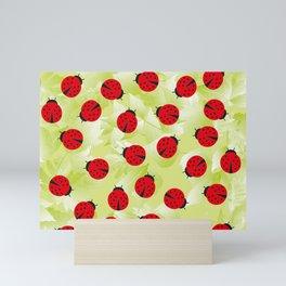 Ladybugs and leaves nature print Mini Art Print