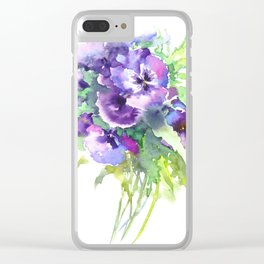 Pansy, flowers, violet flowers, gift for woman design floral vintage style Clear iPhone Case