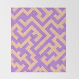 Deep Peach Orange and Lavender Violet Diagonal Labyrinth Throw Blanket
