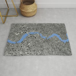 Map of London Thames Drawing Rug