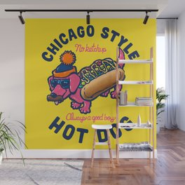 Da Chicago Dog With Text Wall Mural