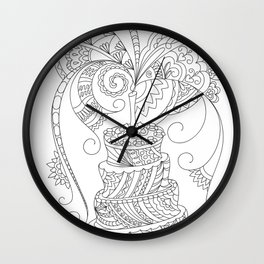 happy birthday with zen patterned cake Wall Clock