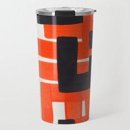 Harsh Mid Century Modern Line Pattern Ancient Aztec Ruins Orange Maze Pattern Black Accent Travel Mug