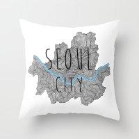seoul Throw Pillows featuring Seoul city by Vania Pietronigro