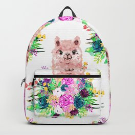 Cute Pink Alpaca and Flowers Watercolor paint Backpack
