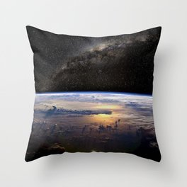 Space Station view of Planet Earth & Milky Way Galaxy Throw Pillow