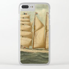 Vintage Illustration of a Large Sailing Yacht (1919) Clear iPhone Case
