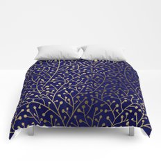 Gold Berry Branches on Navy Comforters