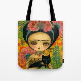 Frida And Her Cat Tote Bag