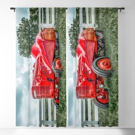 Vintage Orchard Tractor McCormick Deering Antique Red Farm Implement  Blackout Curtain