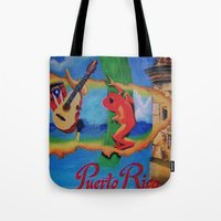 puerto rico Tote Bags featuring Puerto Rico Oil painting Prints  by Huesca Arts by Yolanda Huesca
