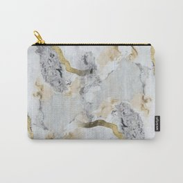 Gold and White Marble Carry-All Pouch