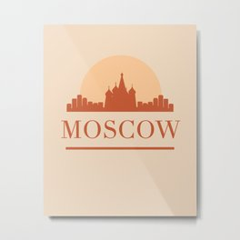 MOSCOW RUSSIA CITY SKYLINE EARTH TONES Metal Print