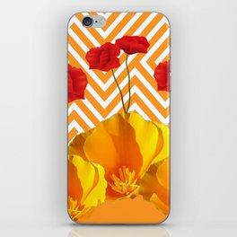 YELLOW & RED  POPPIES MODERN GOLDEN PATTERNS iPhone Skin