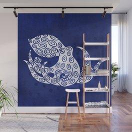 Lone Indigo Octopus Wall Mural