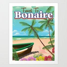 Bonaire vintage travel poster art. Art Print