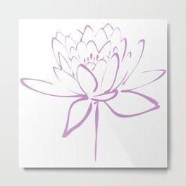 Lotus Blossom Calligraphy Lavender Metal Print